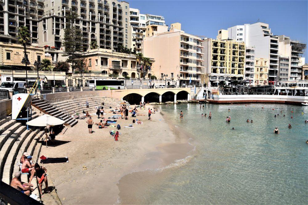 View of the tiny beach at Balluta Bay, St Julian's, Malta