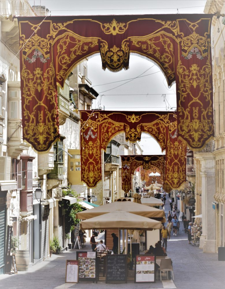 Religious banners in the street at Valletta