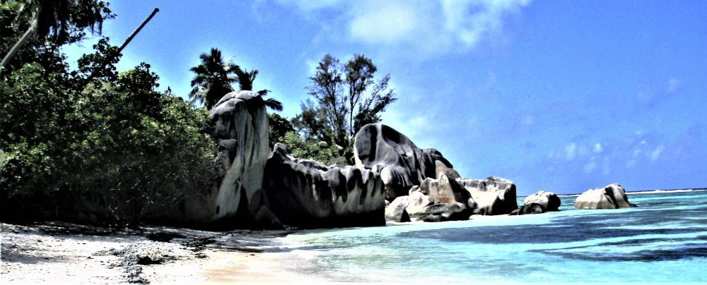 The beach and boulders at at Anse Source D'Argent, La Digue