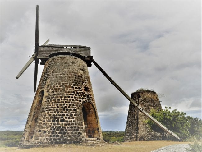 The two stone mills at Betty's Hope Plantation Museum Antigua