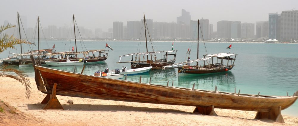 Dhows moored in the marina at Abu Dhabi
