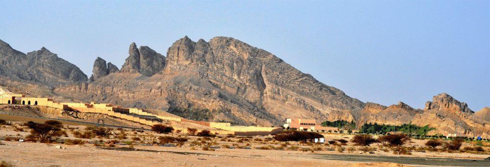 The Jabal Hafeet mountain rising above the desert, Al Ain