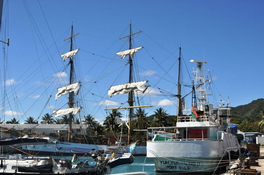 Ships in the harbopr at Avarua, Cook Islands