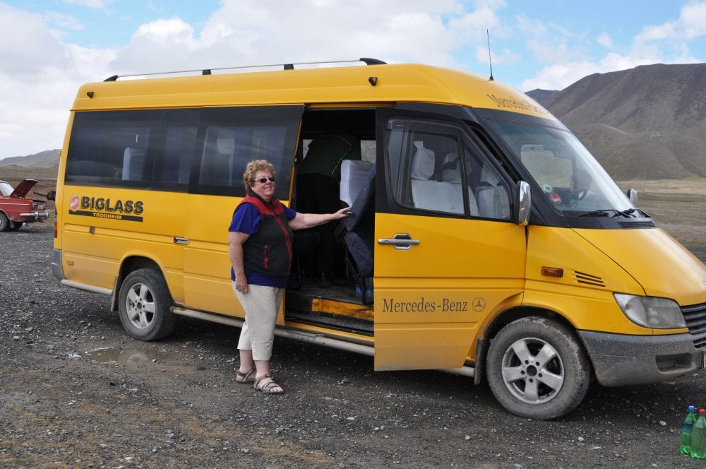 Margaret with the minibus