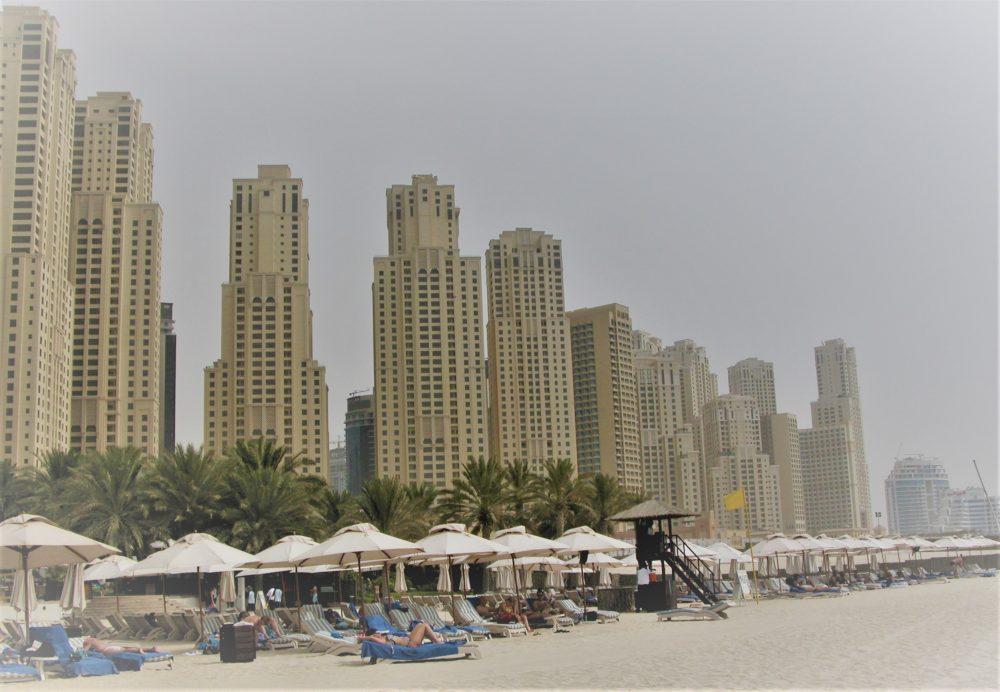 Tower blocks lining the beach at Jumeirah
