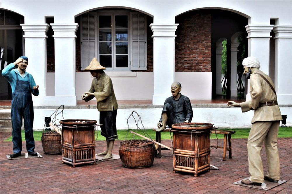A tableau showing Chinese labourers outside the old British Consulate in Taiwan