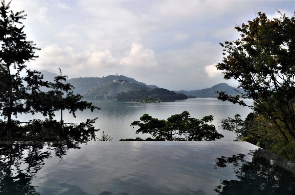 The infinity pool at my hotel blending into Sun Moon Lake, Taiwan