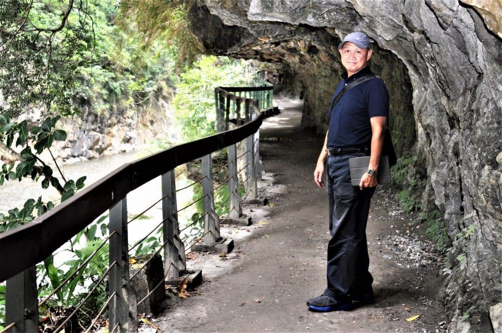 Sam on the path at Taroko Gorge