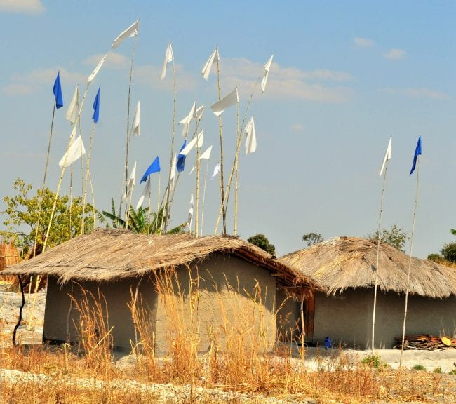 Blue and white flags denoting the witch doctor's thatched house