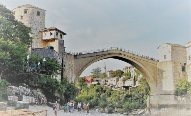 The arched stone bridge at Mostar