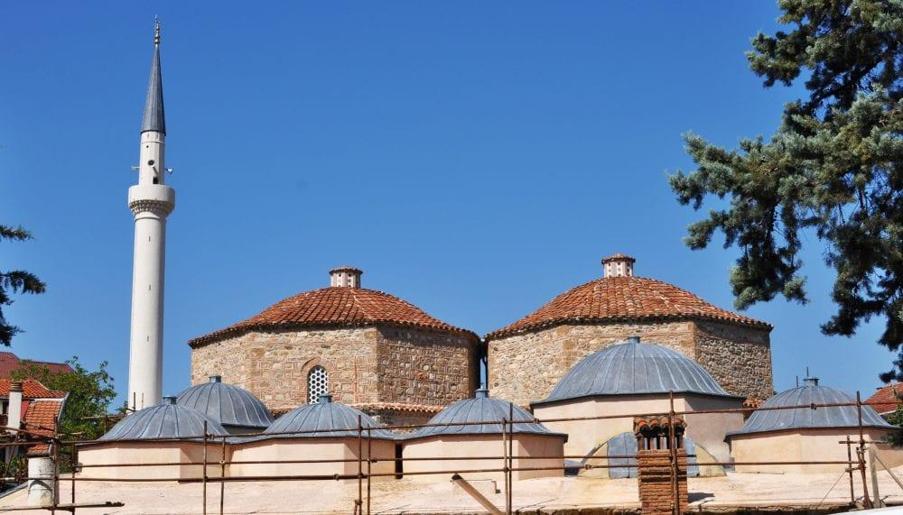 The domes of the old hammam at Prizren, Kosovo