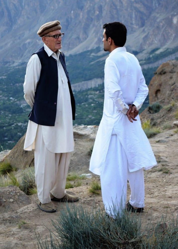 Two Pakistanis talking at the Rakaposhi viewpoint