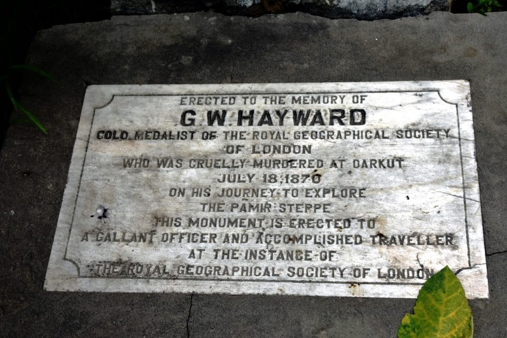 A plaque commemorating Hayward from the explorers graveyard at Gilgit