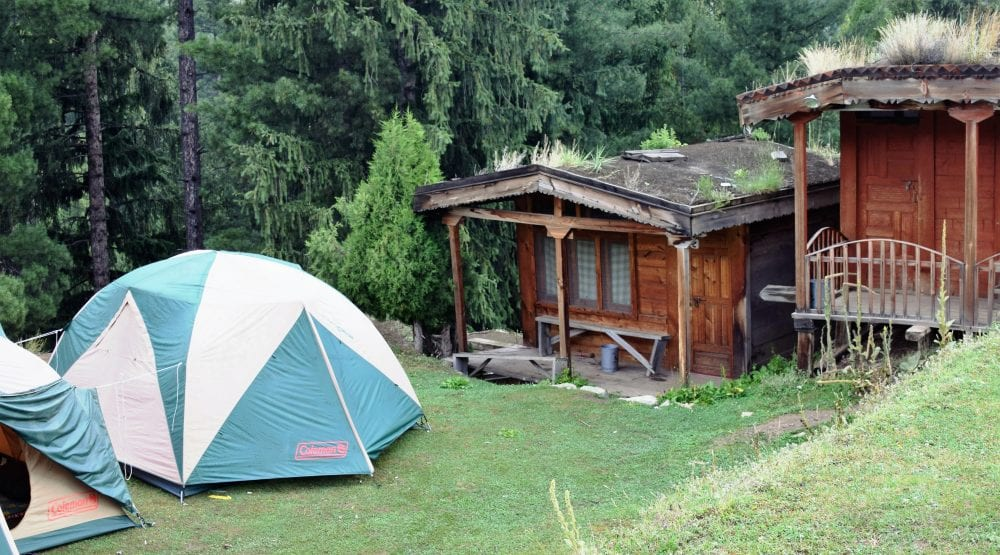 My cabin at Fairy Meadows obstructed by tents, Pakistan