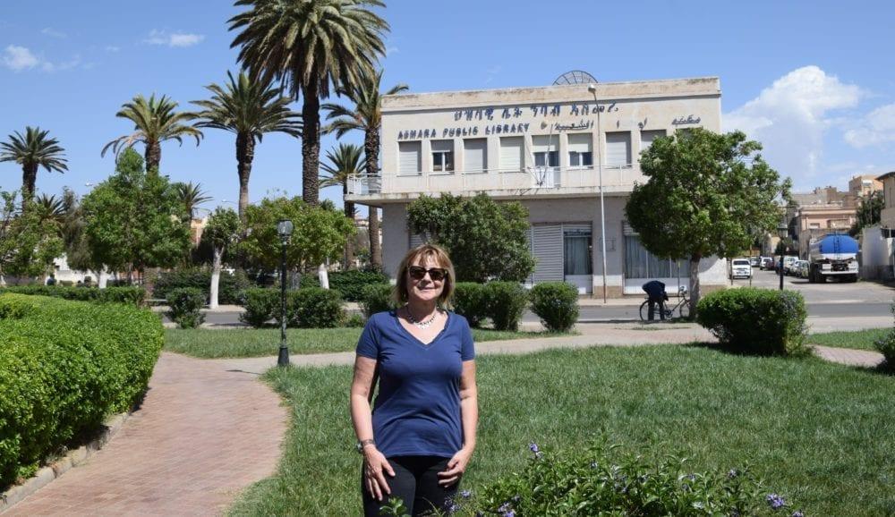 Sue in a park in Asmara