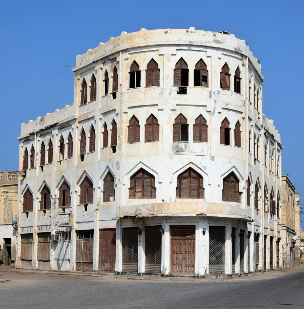 An ornate Arab architecture corner building