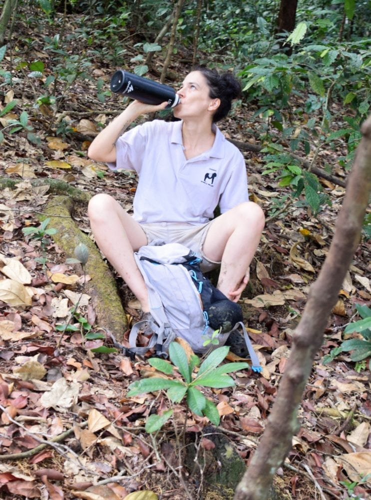 Guide Sonia stops for a drink on our gorilla hunt