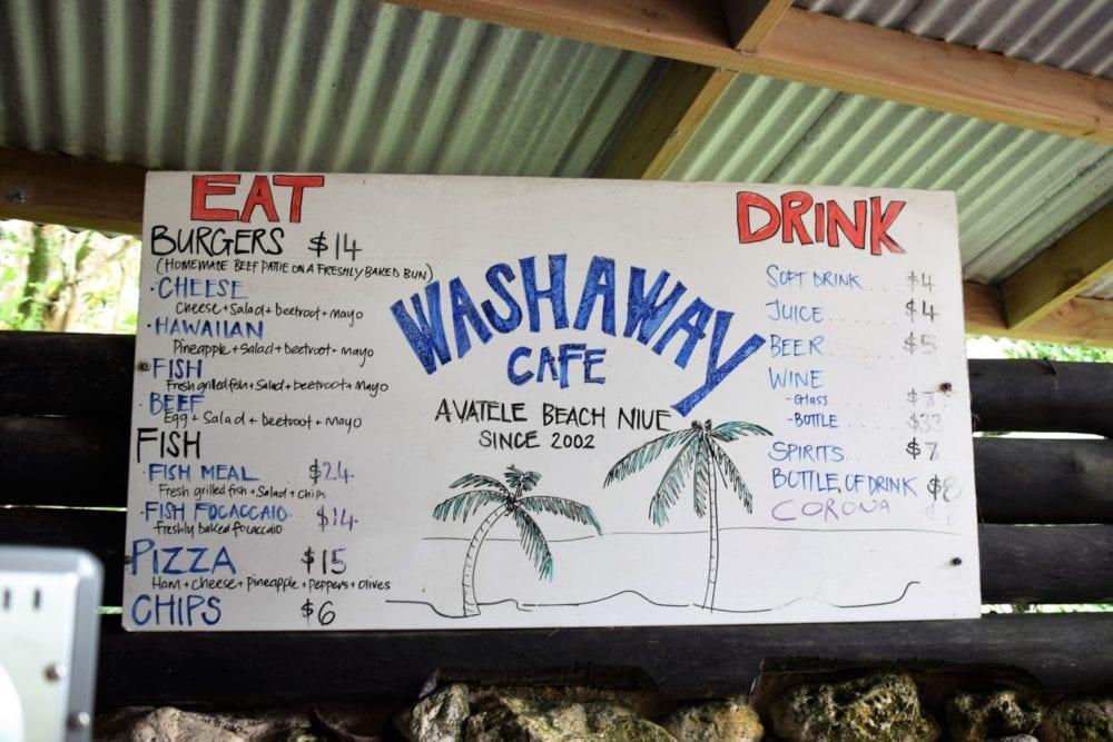 The menu board at the Washaway Cafe