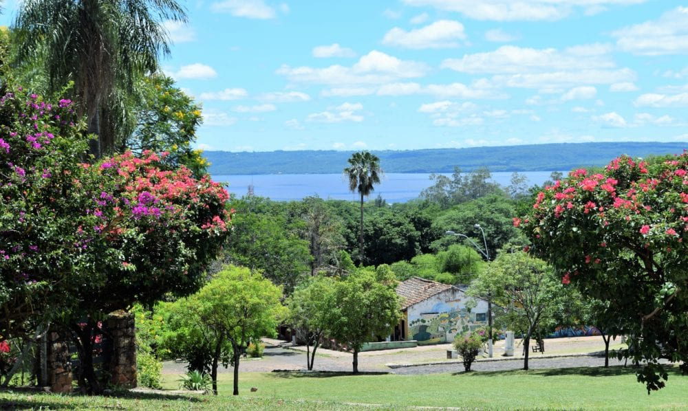 Ypacaraí Lake viewed from the top of a hill in San Bernardino Paraguay