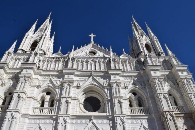 White Santa Ana cathedral facade
