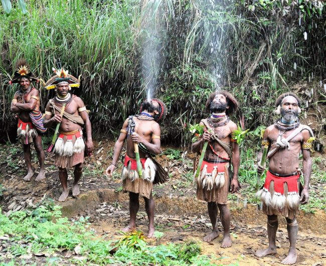 The Huli wigmen ceremonially watering their hair, which they are growing for wigs using blow pipes, Papu New Guinea