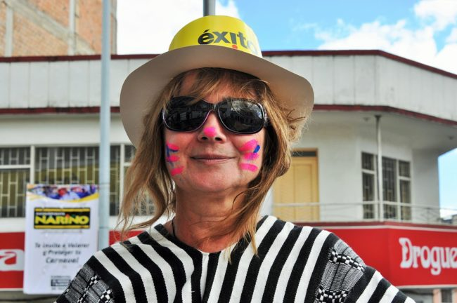 Sue with carnival face paint at Pasto, Colombia