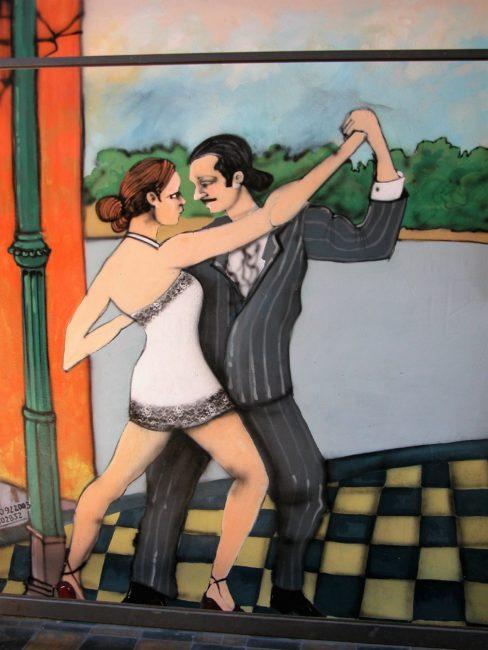 Tango dancing on a mural in La Boca