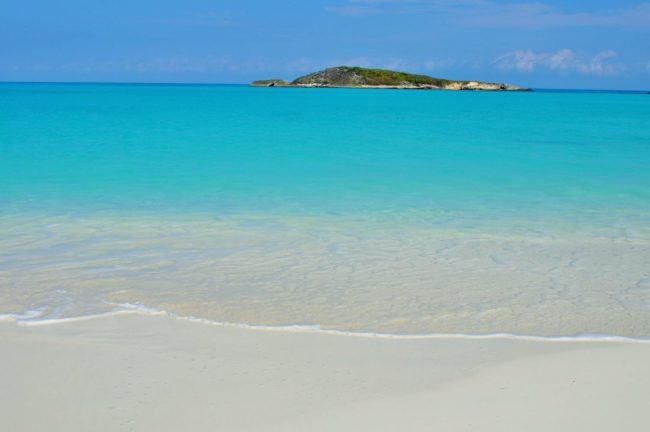 Amazing turquoise water and white sand at Tropic of Cancer Beach