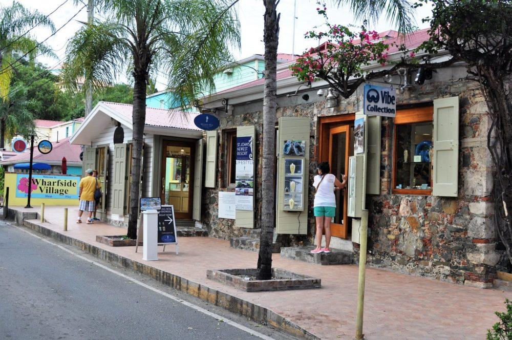 A shopping street on St John, US Virgin Islands