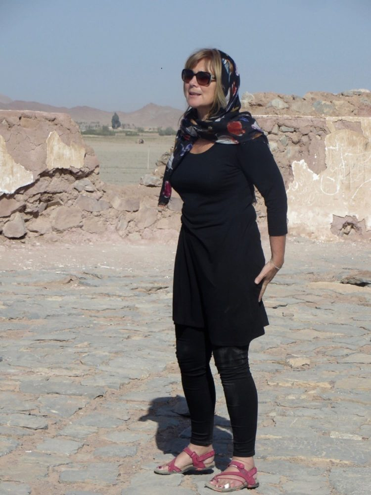 Sue on the Zoroastrian fire tower, near Yadz, Iran