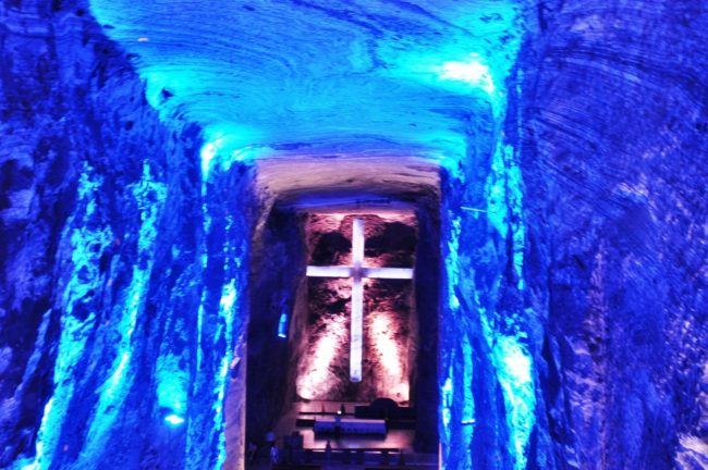 An illuminated cross in a chamber at Zipaquera Salt Mine Cathedral