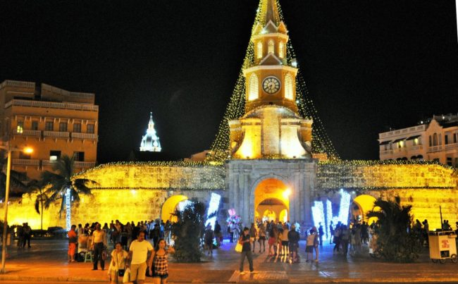 The illuminated Clock Monument at Cartagena, Colombia
