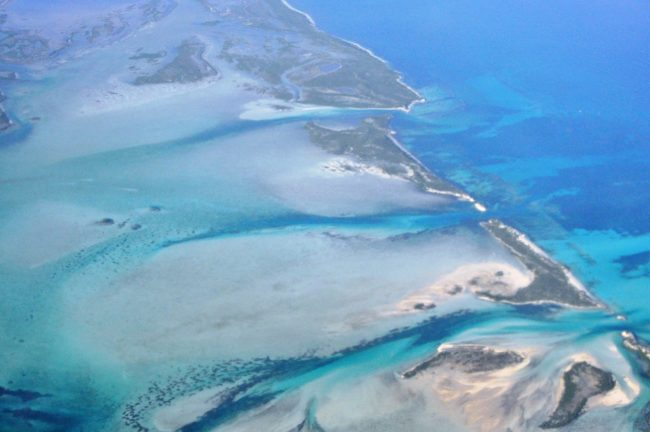 Reefs and sand banks of Turks and Caicos seen from the plane
