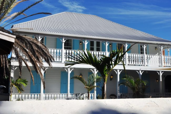 Plantation style blue and white house on Grand Turk, Turks and Caicos