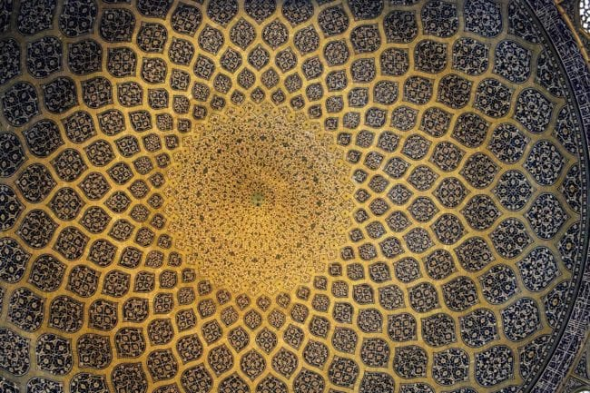 intricate blue and gold patterns on the interior of the dome of the Sheikh Lotf Allah Mosque, Esfahan