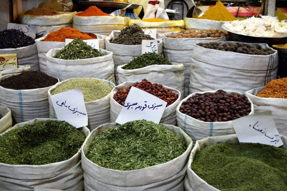 Sacks of herbs and spices in the bazaar at Shiraz, Iran