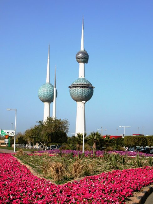 The three Kuwait Towers, with their blue spheres
