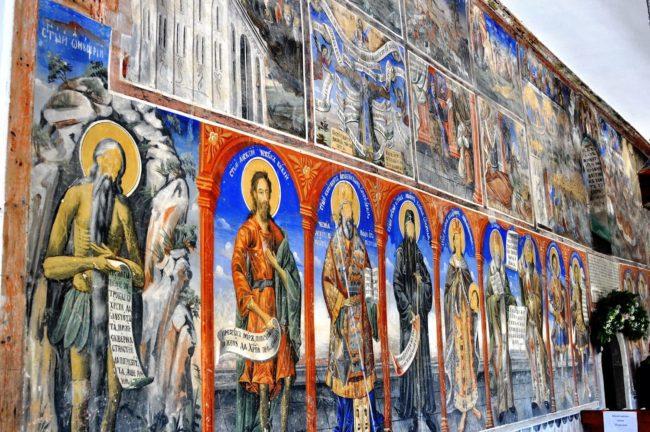 Bright frescoes at the Monastery of Sveti Jovan Bigorski, in the Radika river valley, Mavrovo National Park