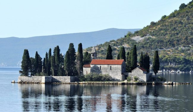 The islet, Our Lady of the Rocks, with its museum and church, Kotor