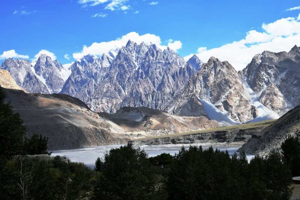 The jagged mountain range in the Upper Hunza Valley