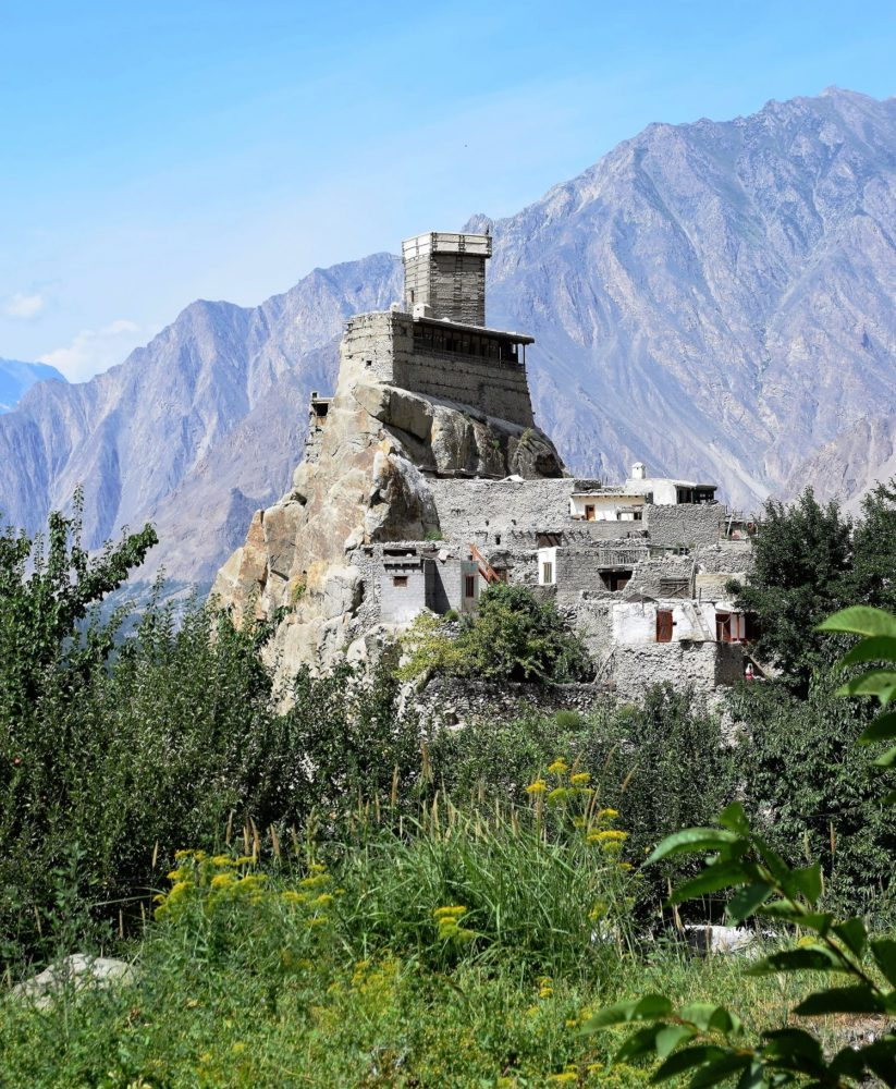 he tower of the fort at Altit taken from perched on a pinnacle above the village, Pakistan