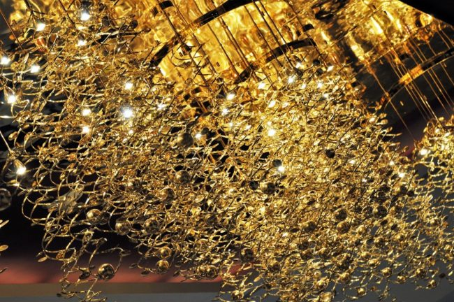 A gold chandelier in the souq at Doha, Qatar