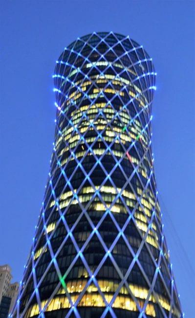 Skyscraper at night in Doha, Qatar