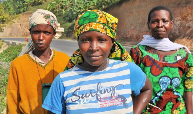 Three women on the road in Rwanda