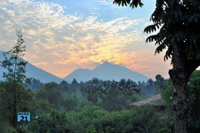 Sunset over the volcanoes at volcanoes National Park, Rwanda