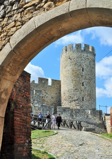 A view through an arch of the castle at the Fortress of Kalemegdan< Belgrade, Serbia