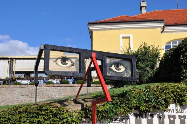 An arty spectacles sculpture at Novi Sad, Belgrade