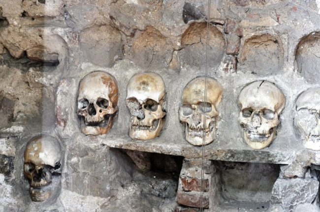 Rows of skulls in the wall at the Skull Tower, Nis