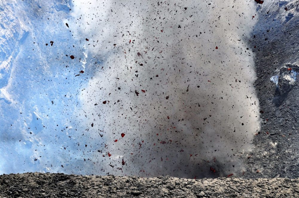Mount Yasur- throwing out a plume of smoke, ash and glowing lava, Tanna