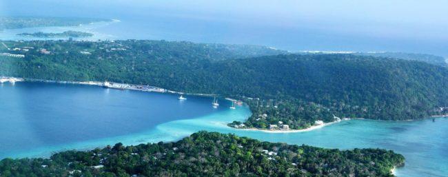 Turquoise Port Vila lagoon seen from the air, Vanuatu